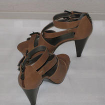 Brown Leather G by Guess Strappy Heel Sandal New Without Box Zipper Shoes - 10 M Photo
