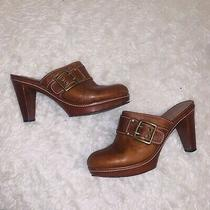 Brown Leather Mules Heels 9.5 Coach Candace  Photo