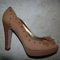 Brown Leather Vince Camuto Peep Toe Platform Heels W/floral Accents 9 B Photo