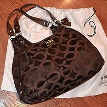 Brown (Mahogany) Jacquard Coach 'Maggie' Satchel Handbag Great Deal Photo