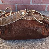 Brown Metallic Fabric and Gold Metallic Leather Hobo Style Bag Photo