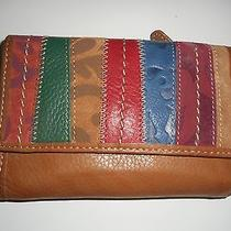 Brown Patchwork Leather and Suede Fossil Tri-Fold Wallet - Nwot Photo
