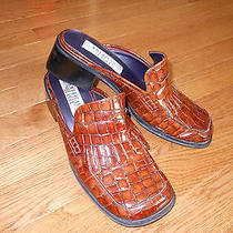 Brown Patent Faux Croc Mules American Eagle Kimmy Sz 8 Photo