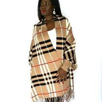 Brown Plaid Burberry Luxury Fringe Poncho Shawl With Sleeves and Pearl Brooch Photo