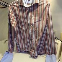 Brown Red and Blue Striped Express Dress Shirt- 14-14 1/2 Photo