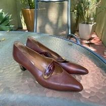 Brown Vintage Bally Mary Jane Kitten Heels Size 8 Perfect Condition Photo