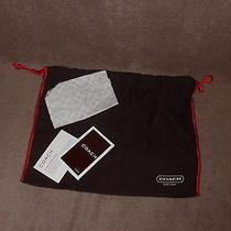 Brown W/ Red Trim & Drawstring Coach Purse & Accessories Soft Cloth Storage Bag Photo