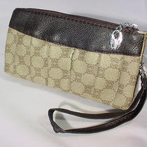Brown Wristlet Purse Crossbody Pockets Leather Zippers Brown 9763 Photo