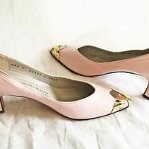 Bruno Magli Vintage Metal Cap Toe Pumps Blush Pink Underslung Pointy Toe 7aaa Photo