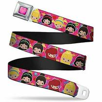 Buckle-Down Seatbelt Belt - Mini 6-Princess Faces/elements Pink - 1.0