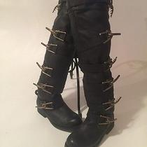 Buckled Detail Sold Out Knee Highblack Leather  Boots by Jeffery Campbell Sz 6 Photo