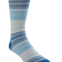 Bugatchi Uomo Italy Mid Calf Aqua Blue  White Stripe Socks - 796870527500 Photo