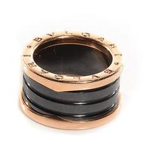 Bulgari Bvlgari 18k Pink Rose Gold Ceramic B.zero1 4-Band Ring 53 Us 6.25 Black Photo