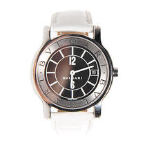 Bulgari Bvlgari Stainless Steel Leather 35mm Solotempo Watch Timepiece White Photo