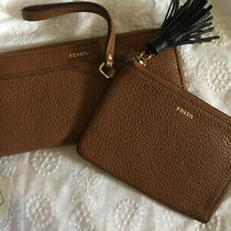 Bundle - Fossil Clutch Wallet Zip Around & Wristlet - Brown Pebbled Leather Nwt  Photo