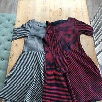 Bundle of Two Gap Stripe Dresses Size 12 (Medium/large) Navy & Red Grey & Black Photo