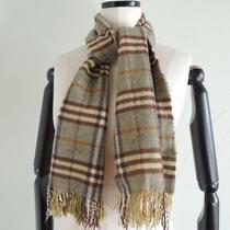 Burberry 100% Cashmere Fringe Nova Plaid Scarf Made in England Size 50 X 11 Photo
