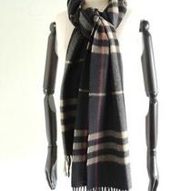 Burberry 100% Cashmere Fringe Nova Plaid Scarf Made in England Size 78 X 15 Photo