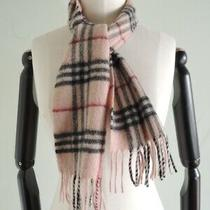 Burberry 100% Wool Fringe Nova Plaid Scarf Made in England Pink Size 45 X 8.5 Photo
