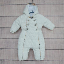 Burberry 3 Months 62 Cm Baby Girls Boys White Snowsuit Outdoor Quilted Romper... Photo