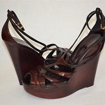 Burberry 550 Bridle Caddington Bordeaux Leather Wedge Sandals  Italy105-Eu405 Photo