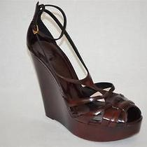 Burberry 550 Bridle Caddington Bordeuax Leather Wedge Sandals  Italy 10-Eu40 Photo