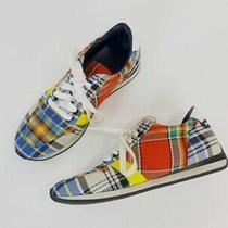 Burberry Amelia Chalk White Mix Tartan Plaid Low Top Sneakers Size 38 Photo