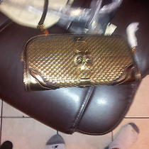 Burberry Antique Gold Metallic Woven Leather Clutch  Photo
