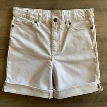 Burberry Auth Girls Kids' Shorts Bermuda High Waist Cuffed Denim White Size 14y Photo