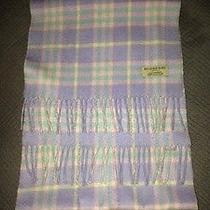 Burberry Authentic Scarf Purple Cashmere Pink Plaid Check Fringed Muffler Photo