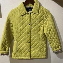 Burberry Authentic Yellow Diamond Quilt Button Jacket Kid's Size 12y Excellent Photo