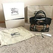 Burberry Bag Authentic Bridle Housecheck Medium Lynher Landscape Tote Black Photo