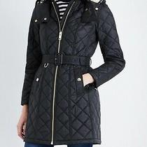 Burberry Baughton Quilted Black Coat Puffer Hood Belt Size Xs Photo