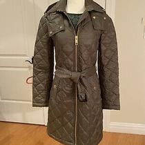 Burberry Baughton Women Belted Quilted Jacket - Grey- Size Xs - Photo