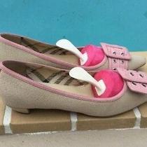 Burberry Beige Canvas Pink Leather Trim & Buckle Details Low Heel Pumps Sz 38.5m Photo