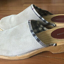 Burberry Beige Tan Suede Leather Wooden Clogs Mules Slip on Shoes  Size 10 (41) Photo