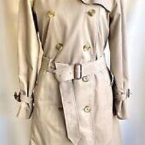 Burberry Beige Trench Coat Nova Check Wool Liner Size 10 Photo