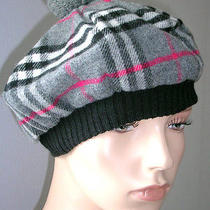 Burberry Beret Hat Cap Merino Wool and Cashmere - Grey Photo