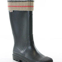 Burberry Black Beige Black White Wool Fold Rubber Mid Calf Wellies Boots Sz 6.5 Photo