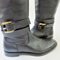 Burberry Black Leather Gold Zipper Strap Boot Size 38.5 Photo