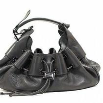 Burberry Black Leather Leather Draw String Handbag Photo