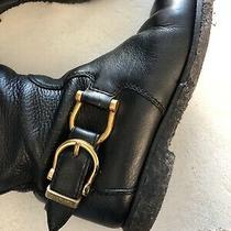 Burberry Black Leather Tall Riding Boots Horse Bit  Details Size 35/5 M Ret 400 Photo