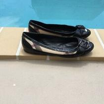 Burberry Black Patent Nova Check Buckle Detail Ballet Flats Sz 36 Photo