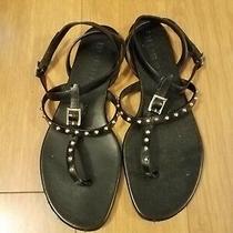 Burberry Black T-Strap Flat Sandal