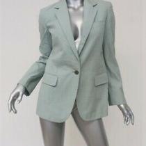 Burberry Blazer Ice Blue Pleated Cotton Size 10 One-Button Jacket Photo