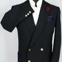 Burberry Blazer Jacket Blue Wool 40r Fantastic Quality 3309 Photo