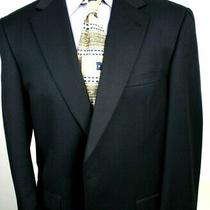 Burberry Blazer Navy Blue Wool Gaberdine Two Button for Saks Fifth Avenue 42 L Photo