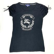 Burberry Blue Label Knit T Shirt Ruched Shoulders Charcoal Grey  Size 38 or M Photo