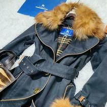 Burberry Blue Label Trench Coat Black Wome Size 38 With Fox Fur Liner Outerwear Photo