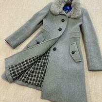 Burberry Blue Label Wool Fur Long Coat Gray Wome Size 38 Outerwear Long Sleeve Photo